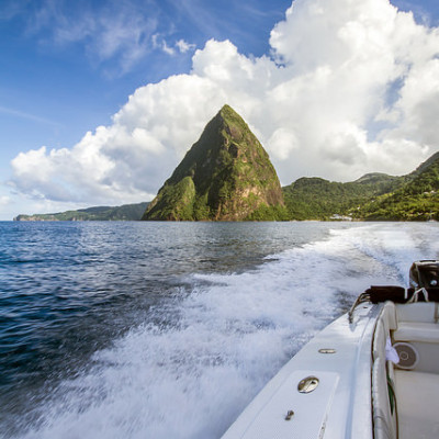 Saint Lucia Mount Piton from Sea